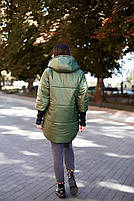 Стильна жіноча тепла куртка з капюшоном (Батал), фото 6