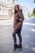 Стильна жіноча тепла куртка з капюшоном (Батал), фото 7