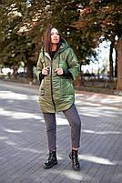 Стильна жіноча тепла куртка з капюшоном (Батал), фото 8