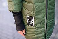 Стильна жіноча тепла куртка з капюшоном (Батал), фото 9