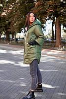 Стильна жіноча тепла куртка з капюшоном (Батал), фото 10