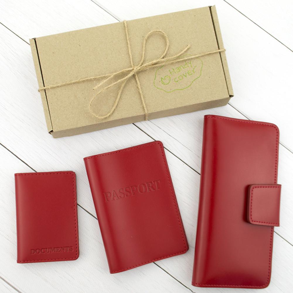 Подарочный набор №12: обложка на паспорт + обложка на документы + кошелек (красный)