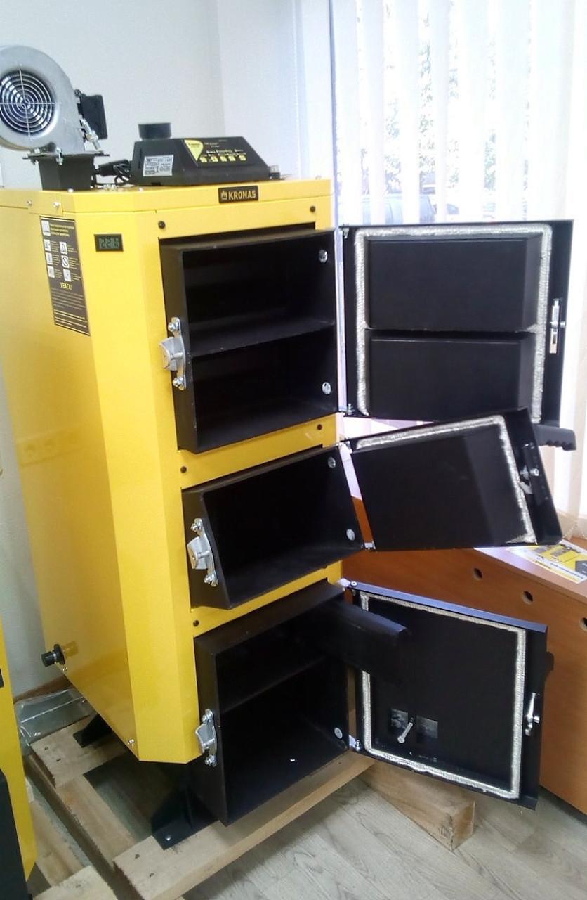 Инновационный котел на твердом топливе КRONAS UNIC NEW 42 квт площадь обогрева помещения 420 м2 / Кронас Уник