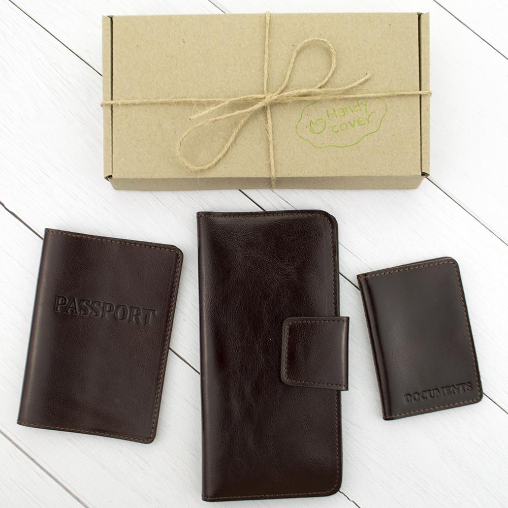 Подарунковий набір №12: обкладинка на паспорт + обкладинка на документи + гаманець (коричневий)