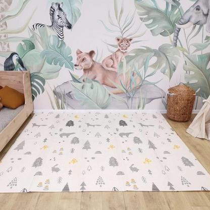 Детский развивающий двусторонний термо коврик №10 Лесные животные, размер 200х180х1см