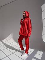 Женский замшевый костюм красный