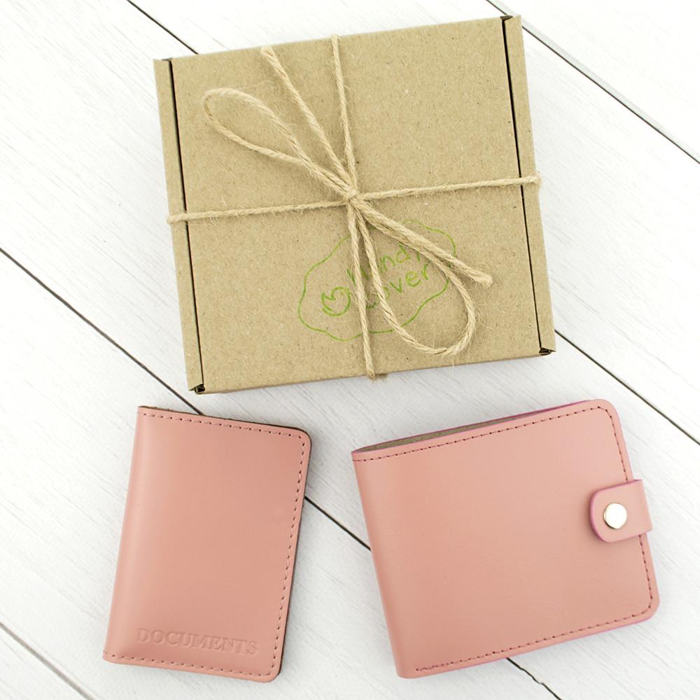 Подарочный набор №16: портмоне П1 + мини обложка на документы (нежно-розовый)