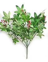 Куст бояршника с красными ягодами 38см, искусственный куст для декорирования интерьера