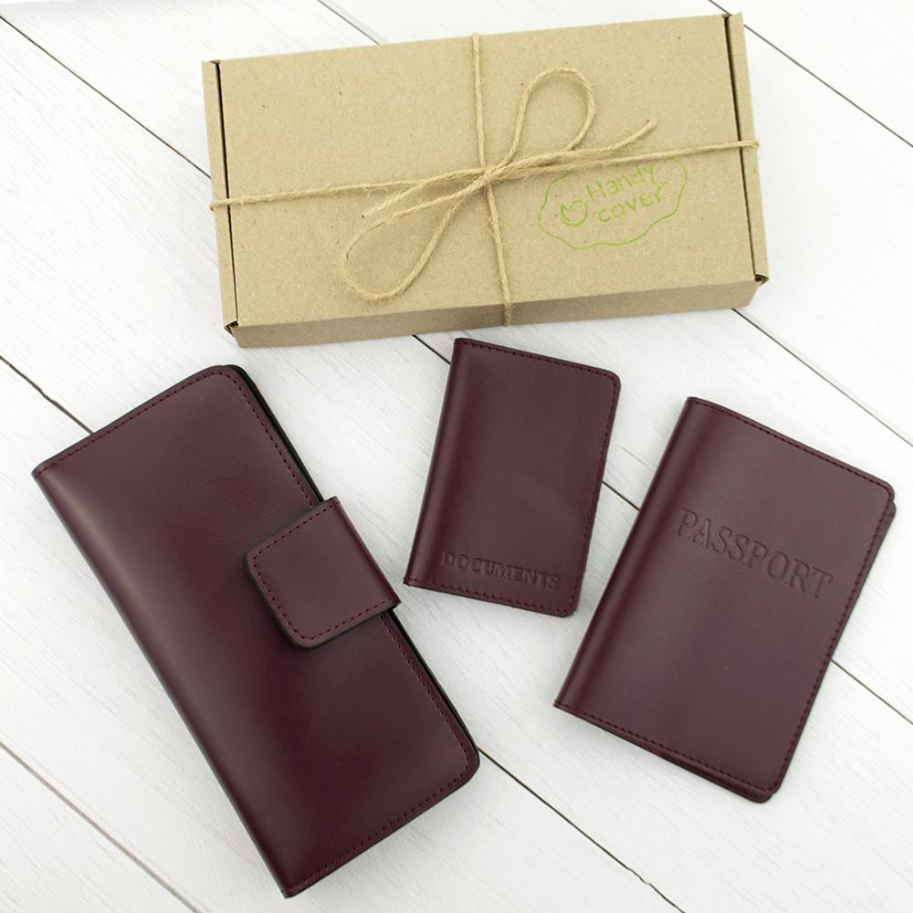 Подарочный набор №12: обложка на паспорт + обложка на документы + кошелек (бордовый)