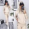 Стильный модный женский трикотажный спортивный костюм с капюшоном на батнике р.44-48. Арт-3301/14