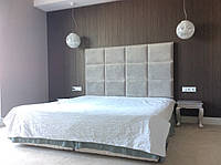 """Двуспальная Кровать """"Mono"""" 160*200 с мягким изголовьем в форме плиток."""