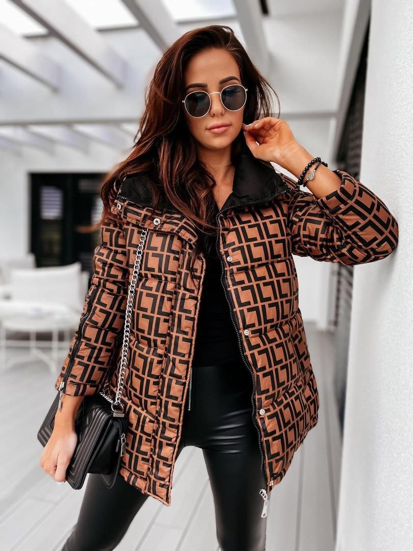 Женская двусторонняя куртка в стиле Fendi до 52 размера