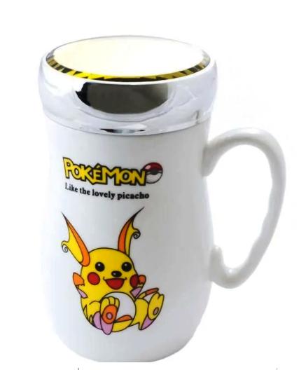 """Чашка с зеркальной крышкой """"Pokemon"""" керамическая 400 мл"""