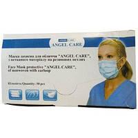 Супер качество!Сертифицированная медицинская защитная маска для лица Angel Care из нетканого материала 50шт