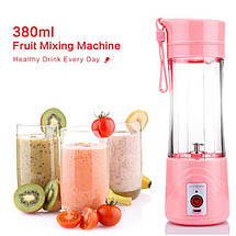 Блендер Smart Juice Cup Fruits USB (Розовый) - Фитнес-блендер портативный для смузи и коктейлей, фото 3