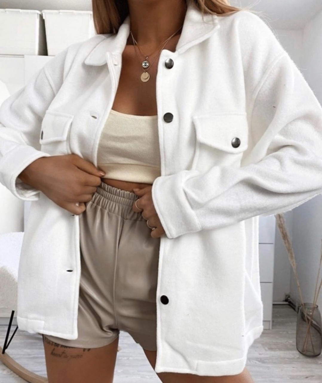 Рубашка пальто Белый
