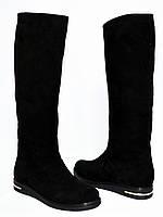 """Замшевые демисезонные женские сапоги """"свободного одевания"""" на низком ходу., фото 1"""