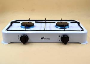 Газовая плита настольная таганок Domotec MS-6662 на 2 конфорки (Белая), фото 2