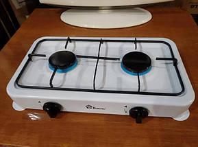 Газовая плита настольная таганок Domotec MS-6662 на 2 конфорки (Белая), фото 3