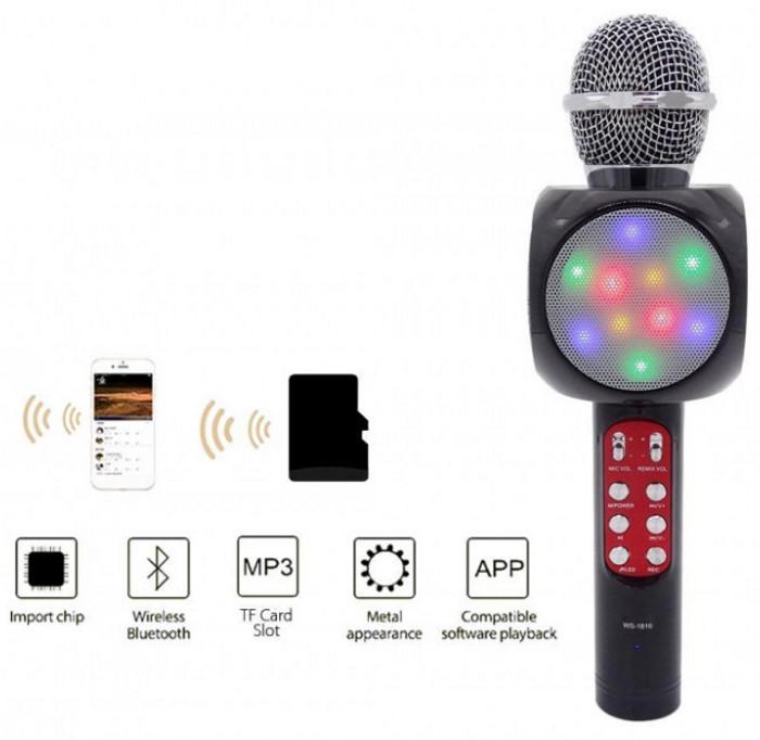 Микрофон караоке WSTER WS-1816 - беспроводной Bluetooth микрофон с cветомузыкой слотом USB и FM тюнером Черный