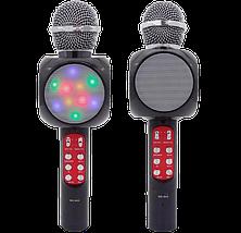 Микрофон караоке WSTER WS-1816 - беспроводной Bluetooth микрофон с cветомузыкой слотом USB и FM тюнером Черный, фото 2