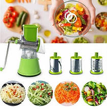 Овощерезка мультислайсер Tabletop Drum Grater Kitchen Master - Ручная терка шинковка для овощей и фруктов, фото 2
