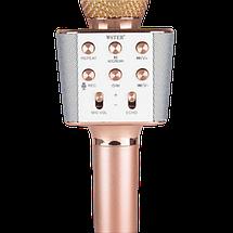 Микрофон караоке WSTER WS-1688 - беспроводной Bluetooth микрофон с 05 тембрами голоса Розово-Золотой, фото 3