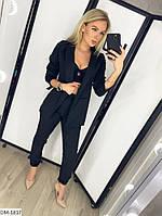 Модный деловой женский брючный костюм с удлиненным пиджаком арт 078, фото 2