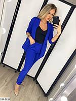 Модный деловой женский брючный костюм с удлиненным пиджаком арт 078, фото 3