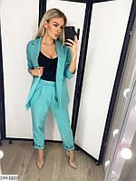 Модный деловой женский брючный костюм с удлиненным пиджаком арт 078, фото 5
