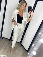 Модный деловой женский брючный костюм с удлиненным пиджаком арт 078, фото 6