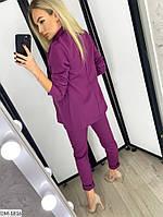 Модный деловой женский брючный костюм с удлиненным пиджаком арт 078, фото 7