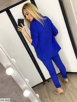 Модный деловой женский брючный костюм с удлиненным пиджаком арт 078, фото 9