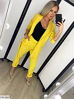 Модный деловой женский брючный костюм с удлиненным пиджаком арт 078, фото 10