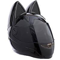 Мото Кото шлем с ушками женский MS-1650 (ABS, размер M, цвет черный)