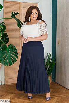 Нарядная летняя женская блузка с кружевом макраме размеры 48-54 арт 93