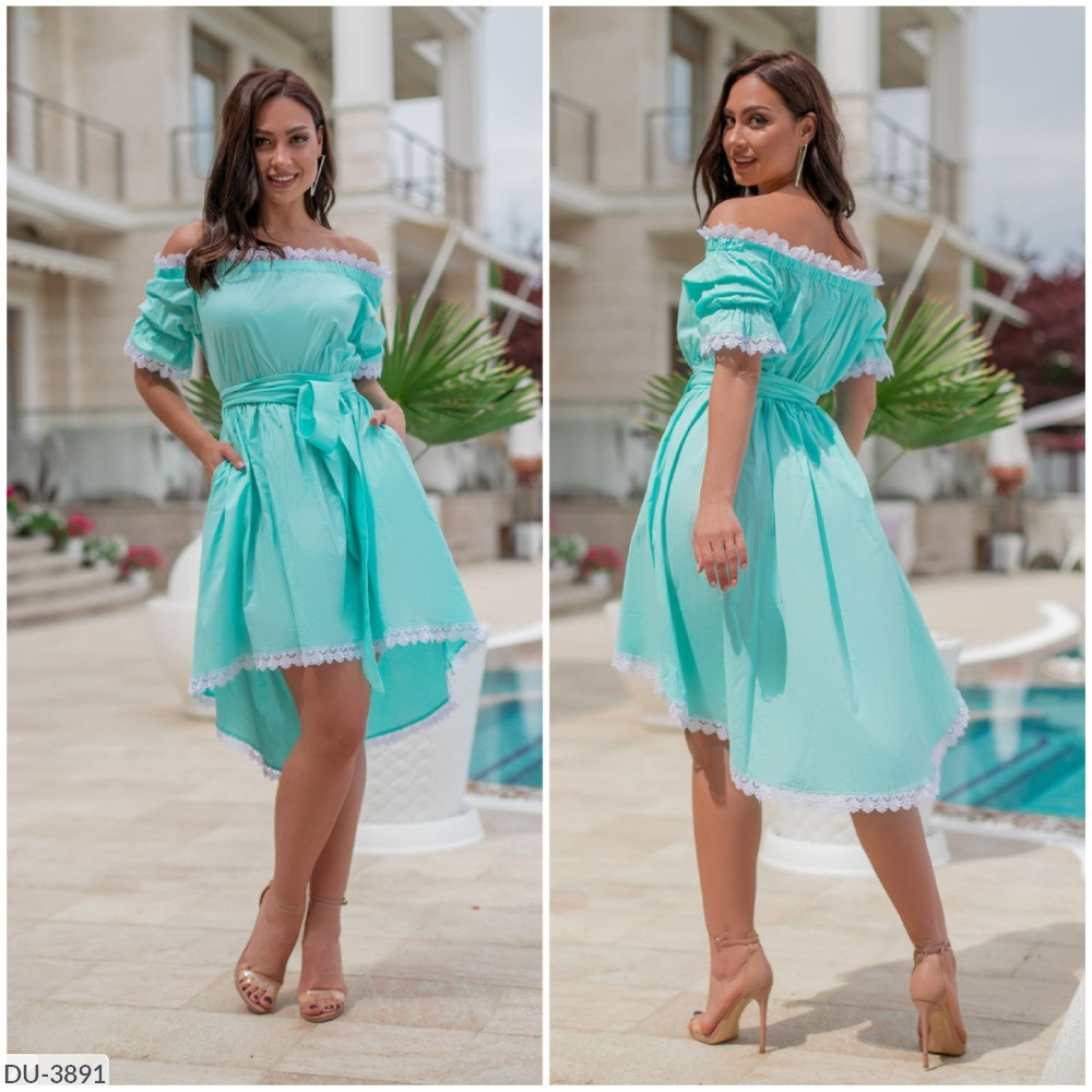 Нарядное асимметрическое платье со вставками кружева Размер: 48-50, 52-54 Арт: 296
