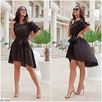 Нарядное асимметрическое платье со вставками кружева Размер: 48-50, 52-54 Арт: 296, фото 2