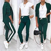 Стильний жіночий модний прогулянковий костюм-трійка: жакет+спортивні штани+футболка (р. 42-48). Арт-3305/14