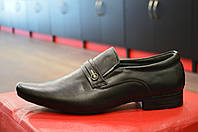 Туфли мужские черные кожаные TJTJ ( модные, стильные, новинки весна, лето, осень)