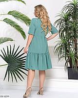 Однотонное платье-рюши сверху на пуговицах Размер: 48, 50, 52, 54 Арт:837, фото 2