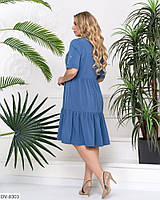 Однотонное платье-рюши сверху на пуговицах Размер: 48, 50, 52, 54 Арт:837, фото 4