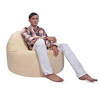 Бежевое большое кресло мешок из кож зама Зевс