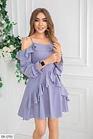 Стильное молодежное женское платье до середины бедра с оголенными плечами арт 604, фото 3
