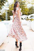 Летнее цветочное платье с воланами до щиколотки арт 129110, фото 2