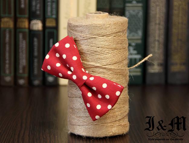 Галстук-бабочка I&M Craft красный в горошек (010511) , фото 2