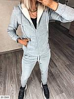 Теплый женский спортивный костюм трехнить на флисе с кофтой на меху арт 242, фото 7