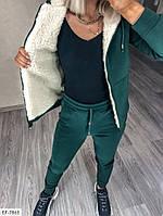 Теплый женский спортивный костюм трехнить на флисе с кофтой на меху арт 242, фото 10