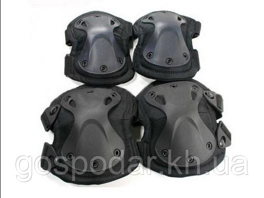 Наколенники и налокотники - комплект защиты тактический спортивный. Черный.