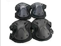 Наколенники и налокотники - комплект защиты тактический спортивный. Черный., фото 1